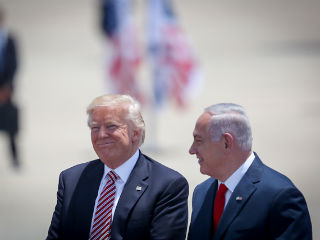 President Donald Trump, left, with Israeli Prime Minister Benjamin Netanyahu at Ben Gurion Airport near Tel Aviv, on May 22. Photo by Hadas Parush/Flash90
